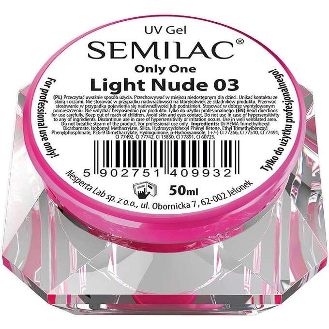 Semilac UV Gel Only One Light Nude 03 - delikatnie beżowy, 5ml